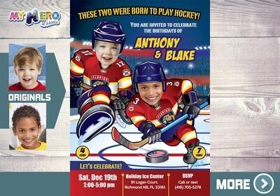 Florida Panthers Siblings Invitation. Joint Hockey Birthday Invitation. 339