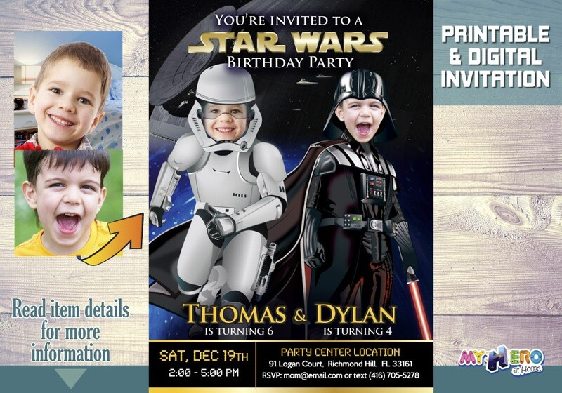 Star Wars Brothers Birthday Invitation. Star Wars Dark Side Siblings Party idea. Turn your children into Darth Vader and a Stormtrooper. 037
