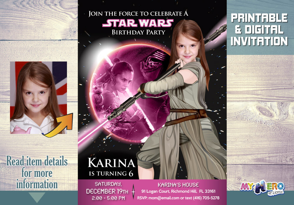 Star Wars Pink and Black Invitation. Jedi Rey Pink and Black Party. Girly Star Wars Invitation. Jedi Rey Invitation. Jedi Rey Party. 010