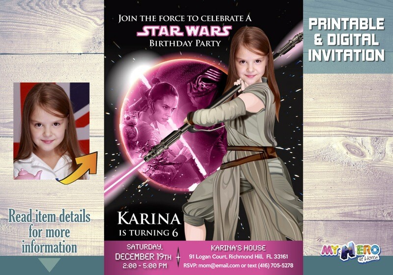 Star Wars Pink and Black Invitation. Jedi Rey Pink and Black Party. Girly Star Wars Invitation. Jedi Rey Invitation. Jedi Rey Party. 010