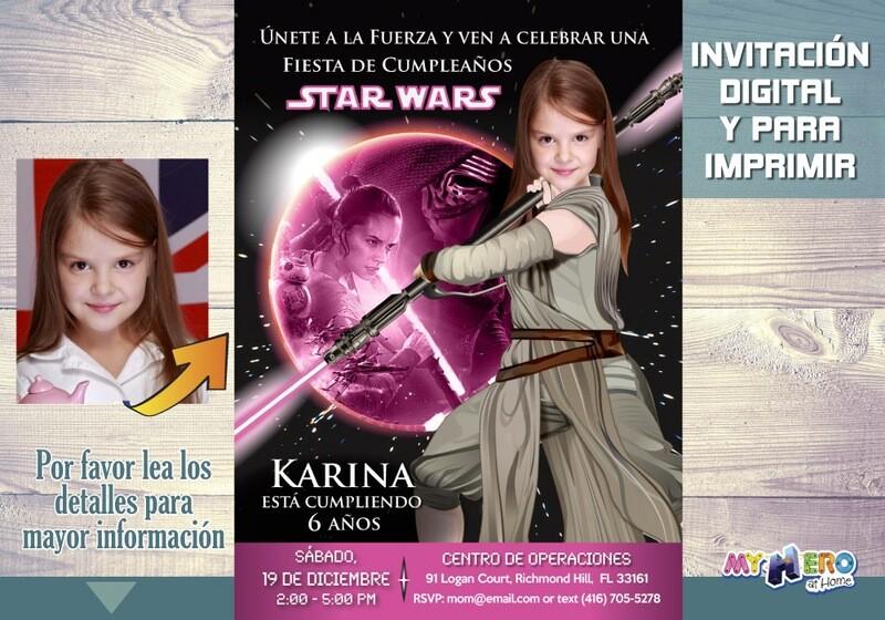 Star Wars Invitación de cumpleaños para niñas Rosa y Negro. Su niña como la Jedi Rey. Fiesta Jedi Rey Rosa Negro. Cumpleaños Jedi Rey. 010SP