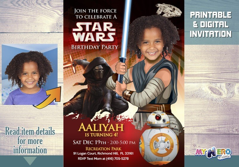 Turn your little girl into the awesome Jedi Rey. Star Wars Birthday Invitation for Girls. Jedi Rey birthday ideas. Jedi Rey Party Ideas. 039