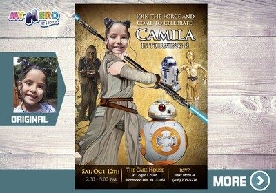Jedi Rey Invitation. Star Wars Invitation for Girls. Jedi Rey Birthday Ideas. BB-8, R2-D2, C-3PO & Chewbacca. Jedi Rey Party Ideas. 012