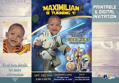 Star Wars First Birthday Invitation. Turn your baby boy into a young Jedi. Star Wars Invitation. Baby Jedi. Baby's First Birthday. 017AA