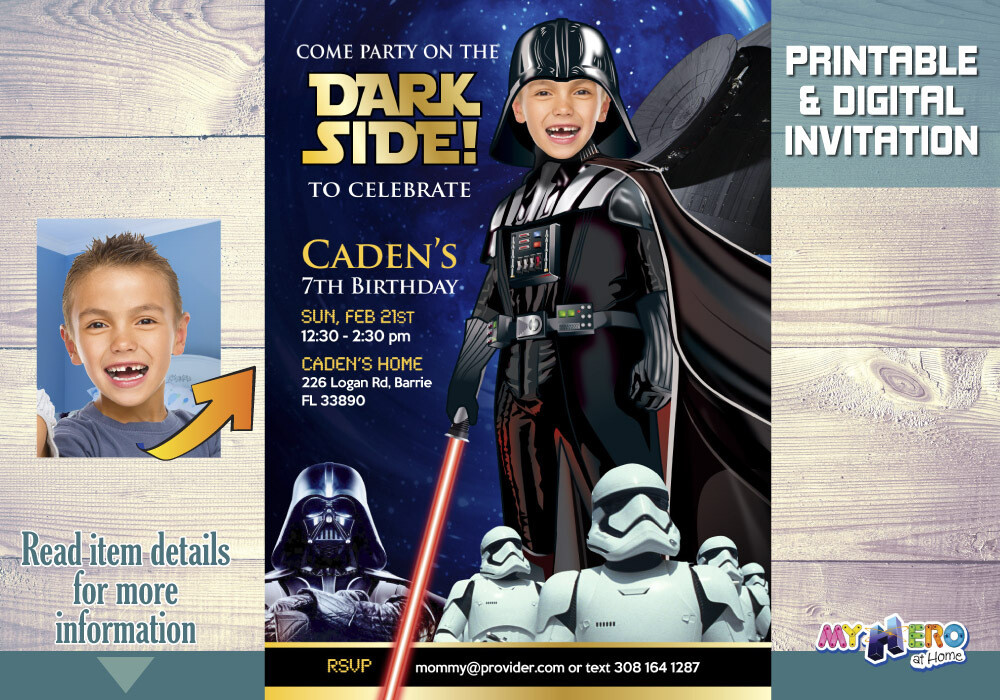 Darth Vader Bday Invitation, Dark Side Birthday, Star Wars Dark Side Party, Darth Vader Party, Darth Vader Digital, Star Wars Party. 022