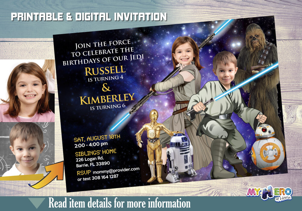 Star Wars Siblings Birthday Invitation. Turn your children into a Jedi. Star Wars Brother Sister Bday Ideas. Joint Star Wars Bday Ideas. 028