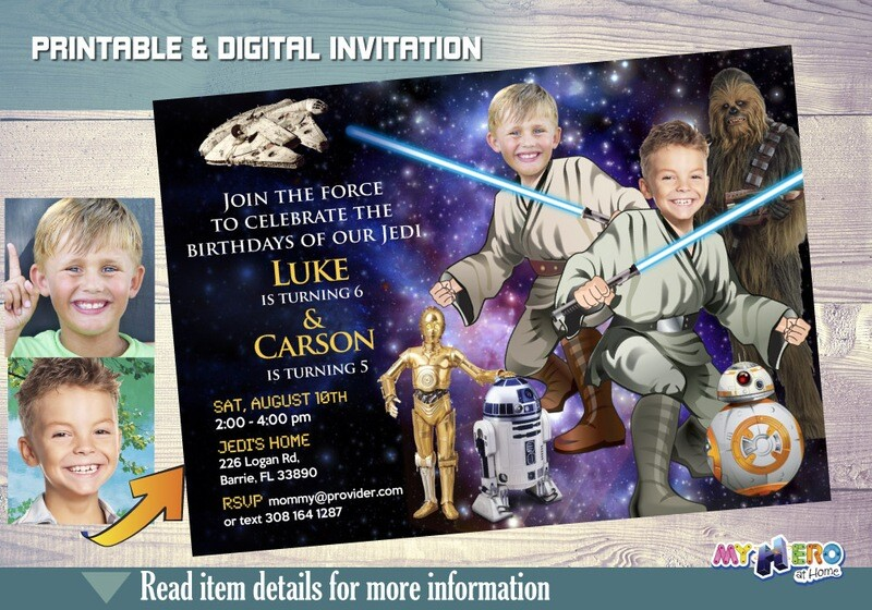 Star Wars Siblings Invitation with your kids as Jedi. Star Wars Siblings Birthday. Joint Star Wars Party Ideas. 2 Jedis Party Ideas. 031