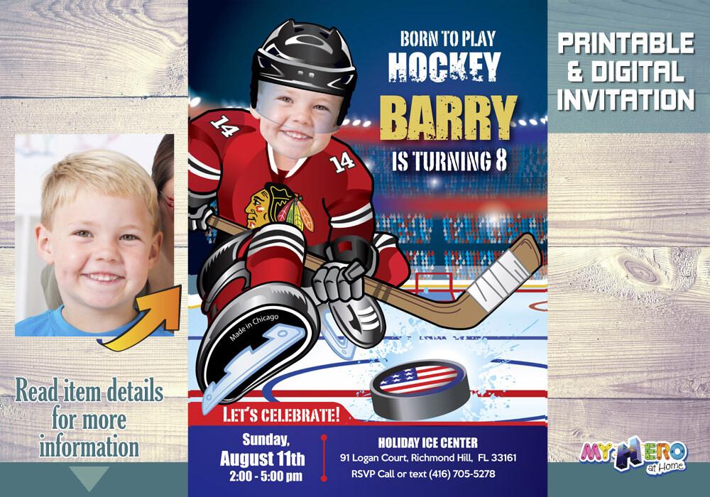 Chicago Blackhawks Birthday Invitation, Chicago Blackhawks Party, Child Hockey Party, Hockey Digital, Hockey Virtual, Hockey Birthday. 301