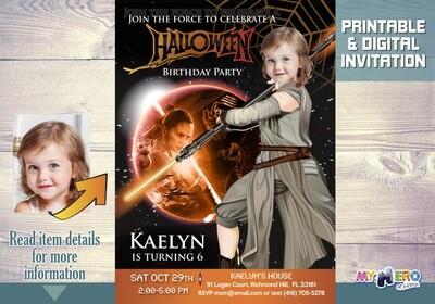 Star Wars Halloween Birthday Invitation for girls. 033