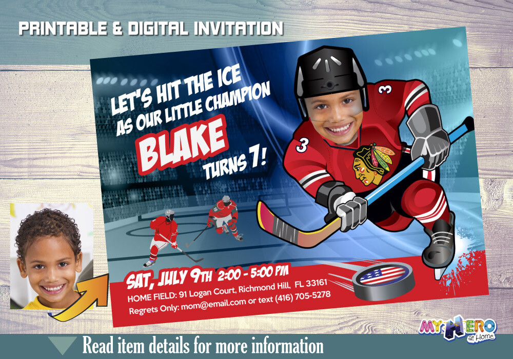 Chicago Blackhawks Birthday Invitation, Chicago Blackhawks Party, Child Hockey Party, Hockey Digital, Hockey Virtual, Hockey Birthday. 302