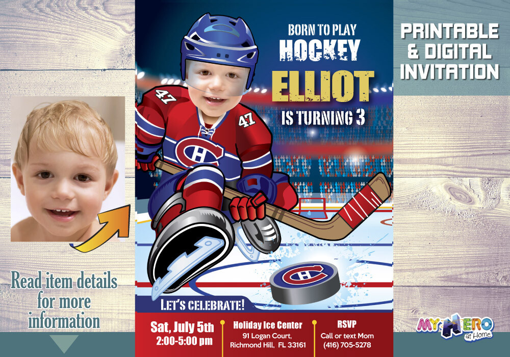 Montreal Canadiens Birthday Invitation, Montreal Canadiens Party, Hockey Digital, Hockey Virtual Party, Hockey Birthday Invitation. 304