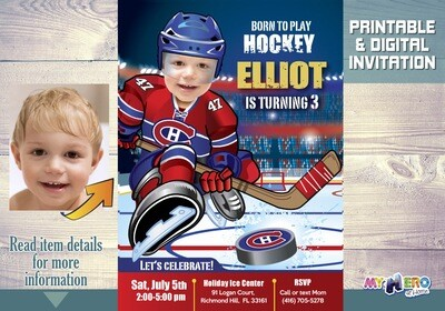 Montreal Canadiens Invitation. Montreal Canadiens Birthday Party. 304