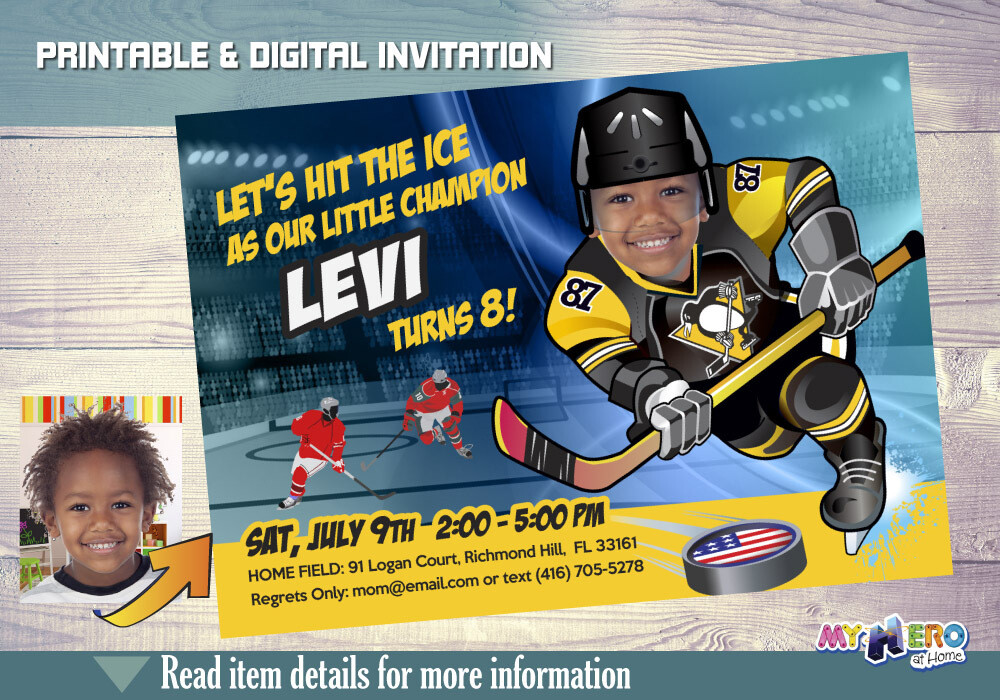 Pittsburgh Penguins Birthday Invitation, Pittsburgh Penguins Party, Hockey Party, Hockey Digital, Hockey Virtual, Hockey Birthday. 306