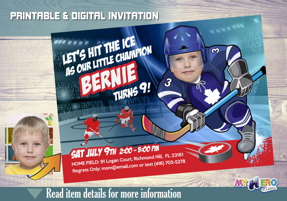 Toronto Maple Leafs Birthday Invitation, Toronto Maple Leafs Party, Ice Hockey Party, Hockey Digital, Hockey Virtual, Hockey Birthday. 309