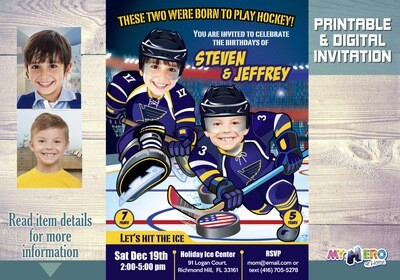 St. Louis Blues Siblings Birthday Invitation, Joint St. Louis Blues Party, Hockey Siblings Party, Joint Hockey Birthday Invitation. 310