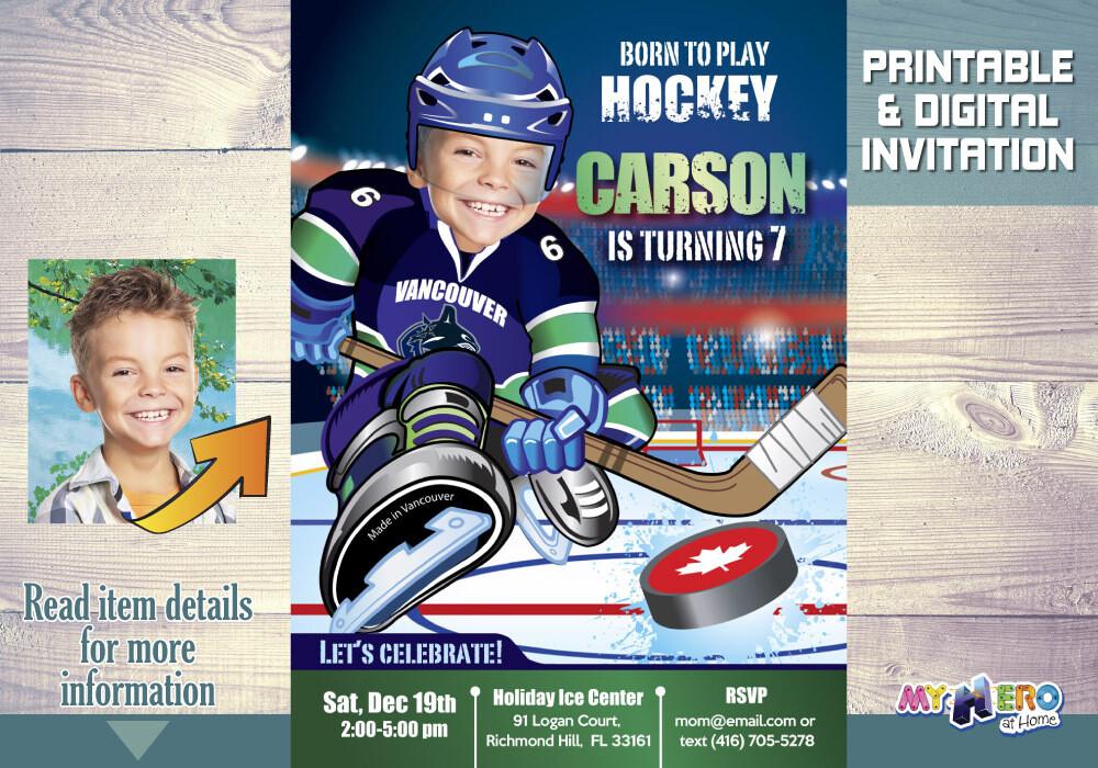 Vancouver Canucks Birthday Invitation, Vancouver Canucks Party, Hockey Party, Hockey Digital Invite, Hockey Virtual, Hockey Birthday. 327
