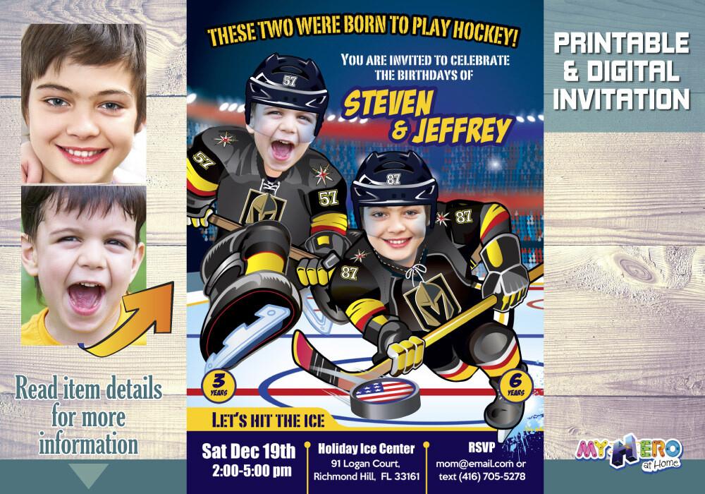 Golden Knights Siblings Birthday Invitation, Joint Golden Knights Party, Hockey Siblings Party, Joint Hockey Party Invitation. 329