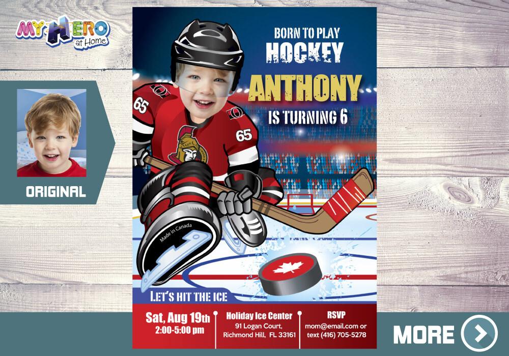Ottawa Senators Birthday Invitation, Ottawa Senators Party, Hockey Party, Hockey Digital, Hockey Virtual Birthday, Hockey Birthday. 333
