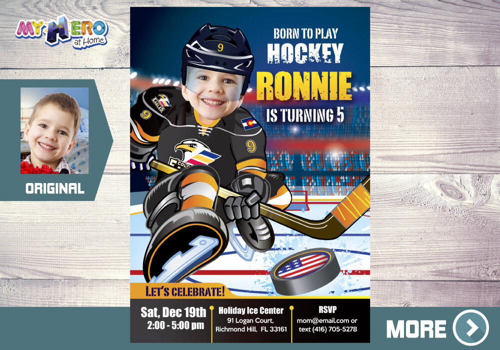 Colorado Eagles Birthday Invitation, Colorado Eagles Party, Hockey Party, Hockey Digital Invitation, Hockey Virtual, Hockey Birthday. 334