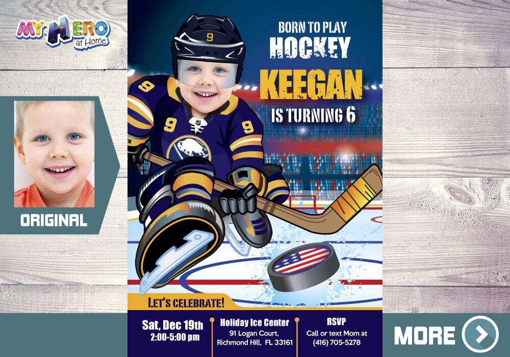 Buffalo Sabres Birthday Invitation, Buffalo Sabres Party, Children Hockey Party, Hockey Digital, Hockey Virtual, Hockey Birthday. 335