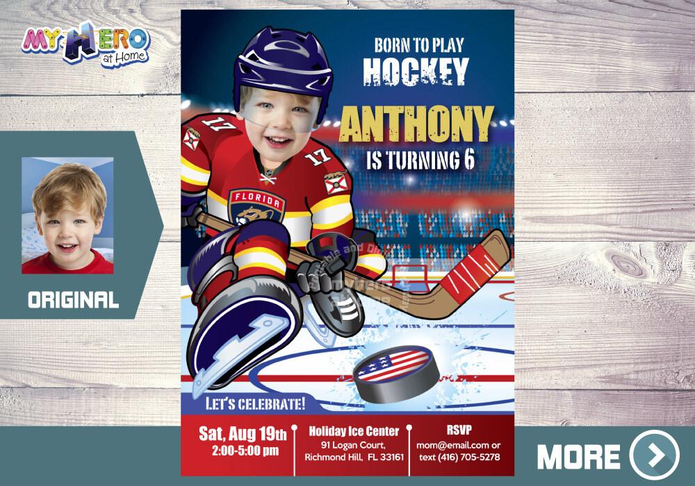 Florida Panthers Birthday Invitation, Florida Panthers Party, Hockey Party, Hockey Digital, Hockey Drive By Birthday, Hockey Birthday. 337