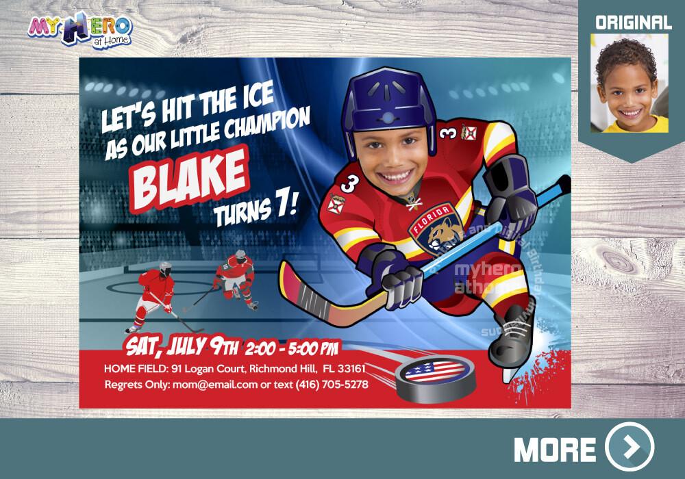 Florida Panthers Birthday Invitation, Florida Panthers Party, Hockey Party, Hockey Digital, Hockey Virtual Birthday, Hockey Birthday. 338