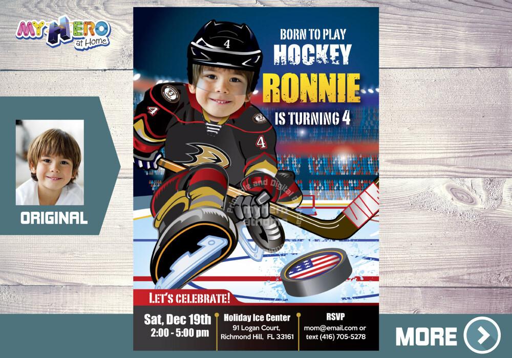 Anaheim Ducks Birthday Invitation, Anaheim Ducks Party, Children Hockey Party, Hockey Digital, Hockey Virtual Party, Hockey Birthday. 340