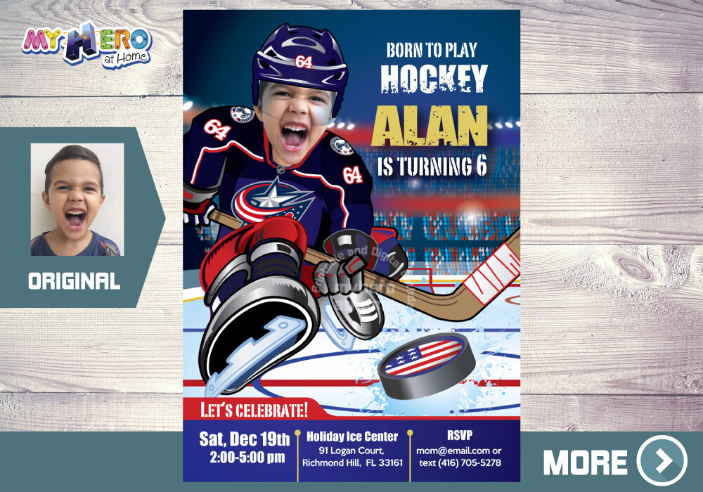 Columbus Blue Jackets Birthday Invitation, Columbus Blue Jackets Party, Hockey Digital, Hockey Virtual Party, Hockey Birthday Invitation 341
