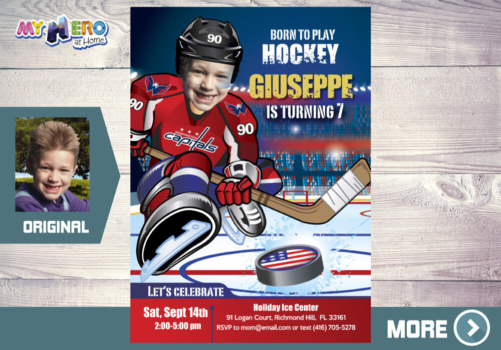Washington Capitals Birthday Invitation, Washington Capitals Party, Hockey Digital, Hockey Virtual, Hockey Birthday Invitation. 348