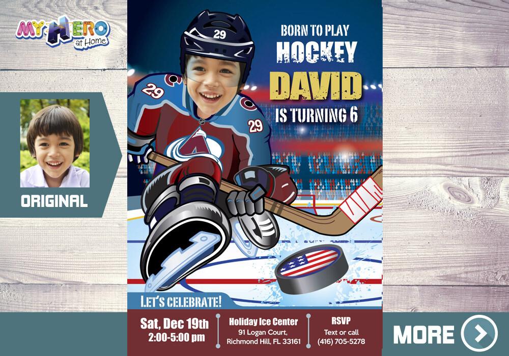 Colorado Avalanche Birthday Invitation, Colorado Avalanche Party, Hockey Party, Hockey Digital, Hockey Virtual, Hockey Birthday. 393