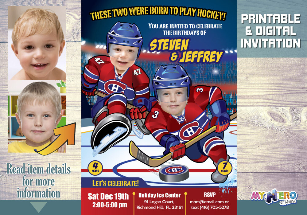 Montreal Canadiens Siblings Birthday Invitation, Joint Montreal Canadiens Party, Hockey Siblings Party, Joint Hockey Party Invitation. 328