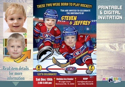 Montreal Canadiens Siblings Invitation. Joint Hockey Birthday Invitation. 328