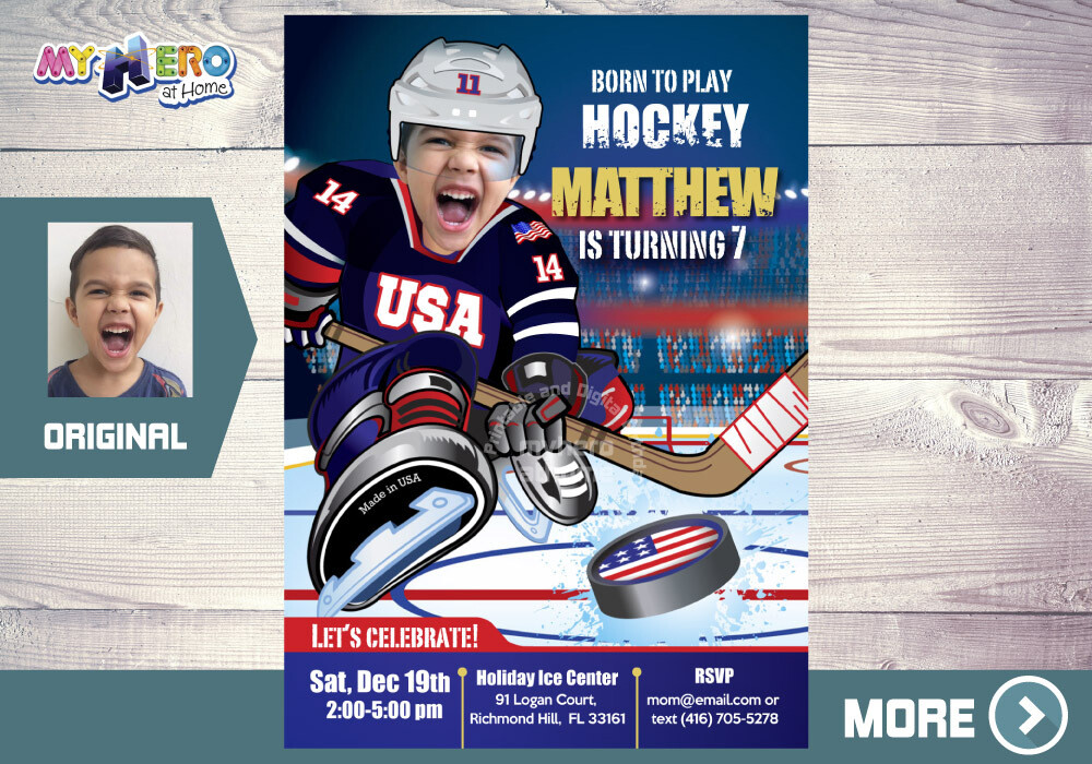 USA Hockey Birthday Invitation, USA team Hockey Party, Hockey Birthday Invitation, Hockey Virtual Invitation, Hockey Digital. 404