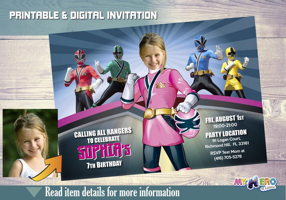 Girl Power Rangers Birthday Invitation, Pink Power Rangers Party, Power Rangers Theme party, Rangers Virtual, Rangers Digital Invitation. 059