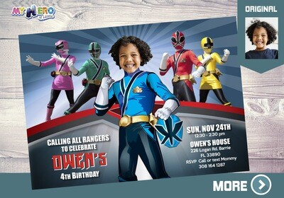 Blue Power Rangers Birthday Invitation, Blue Power Ranger Party, Power Rangers Theme party, Rangers Virtual, Rangers Digital Invitation. 216