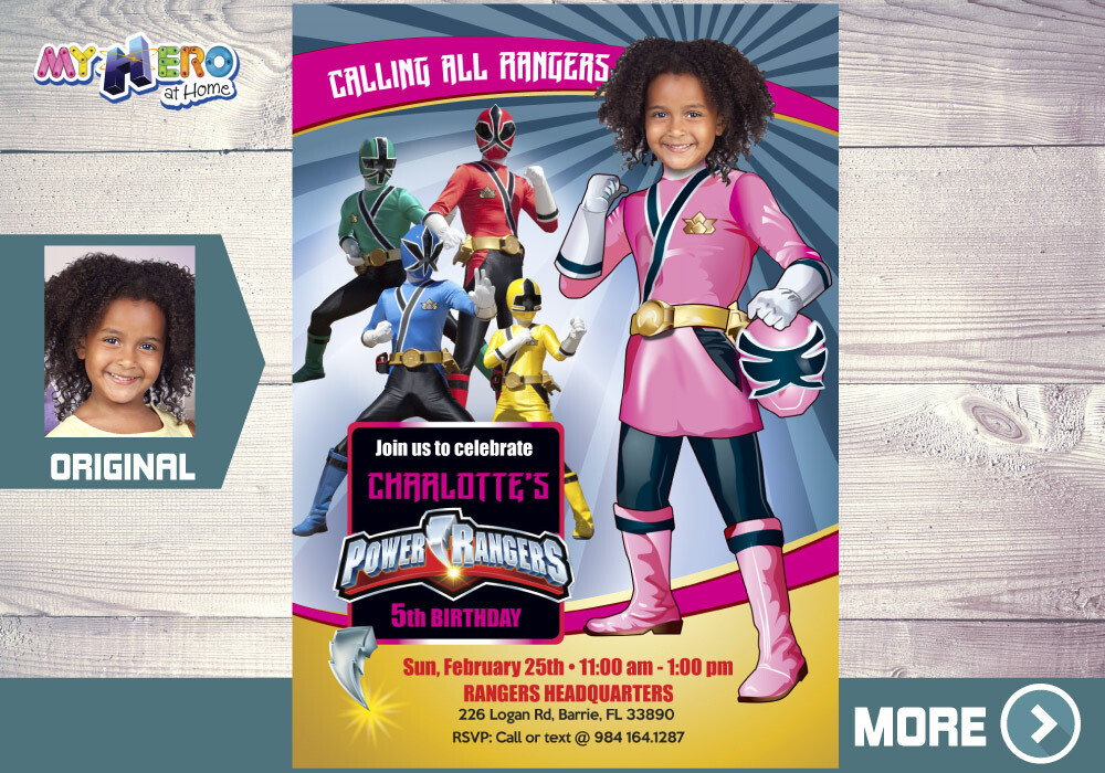 Girl Power Rangers Birthday Invitation, Pink Power Rangers Party, Power Rangers Theme party, Rangers Virtual, Rangers Digital Invitation. 396