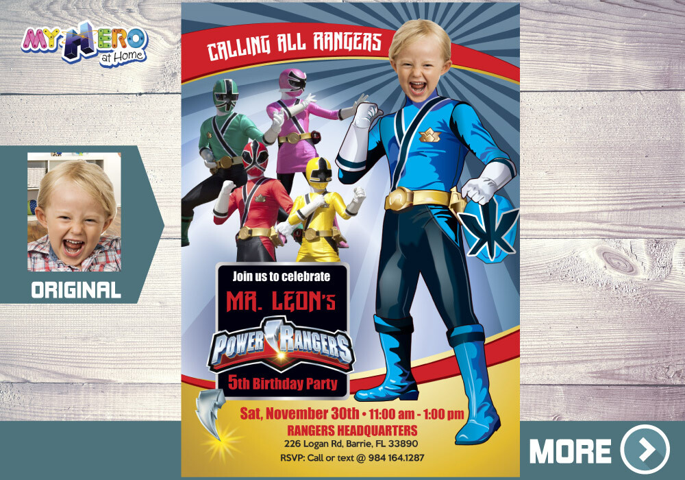 Blue Power Rangers Birthday Invitation. Blue Power Ranger Party. 395