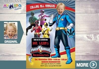 Blue Power Rangers Birthday Invitation, Blue Power Ranger Party, Power Rangers Theme party, Rangers Virtual, Rangers Digital Invitation. 395