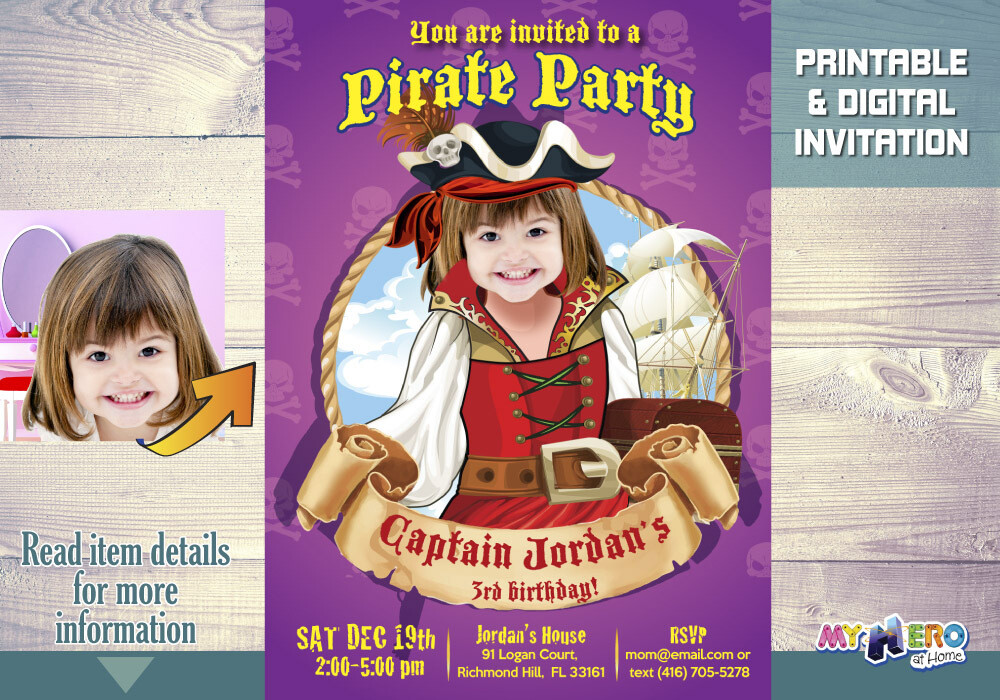 Girl Pirate Invitation. Pirate Invitation for Girls. Girl Pirates Theme party. 226