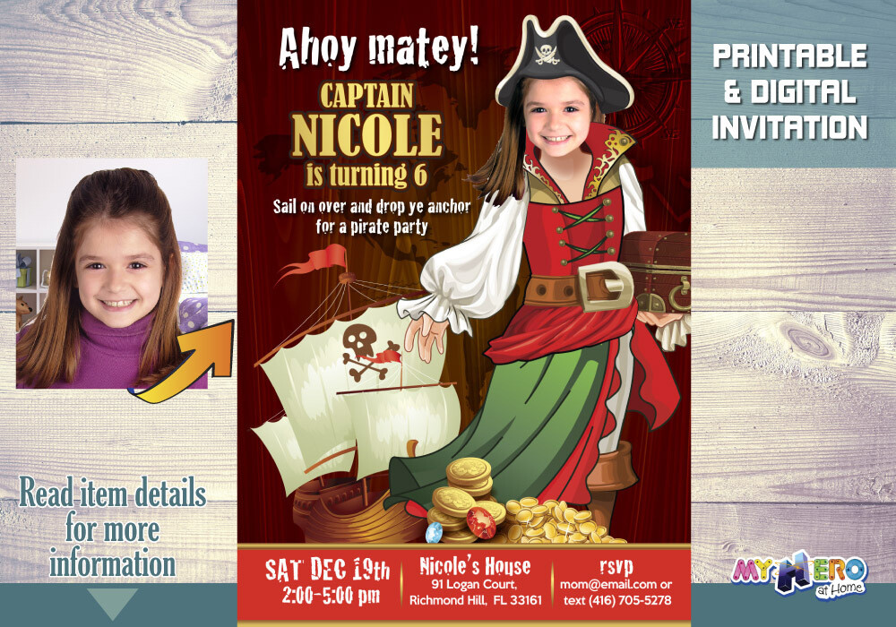 Pirate Birthday Invitation for Girls. Girl Pirate Invitation. Ahoy Matey Invitation. 228