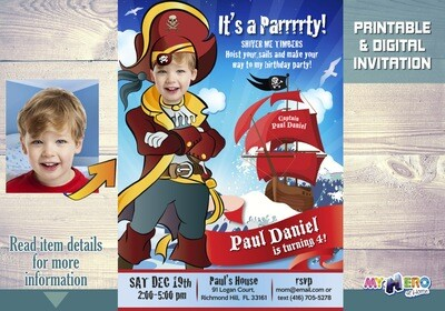 Pirate Birthday Invitation. Pirates theme party. Custom Pirates Party Invitation. 229