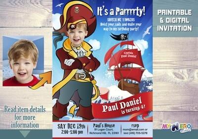 Pirate Birthday Invitation, Custom Pirate Party Invitation, Pirates Digital Invitation, Pirates Virtual Party, Pirates Birthday Parade. 229