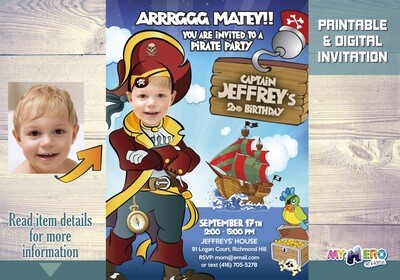 Pirate Invitation. Pirate theme party. Custom Pirate Photo Invitation. 231