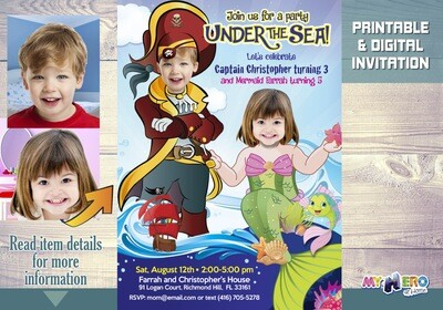 Mermaid and Pirate Birthday Invitation. Joint Mermaid and Pirate Invitation. 232