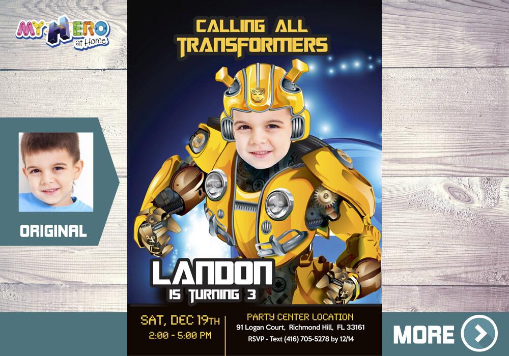 Bumblebee Birthday Invitation, Transformers Theme Party, Bumblebee Digital, Bumblebee Virtual Birthday. 292