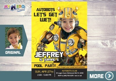 Bumblebee Pool Party Invitation. Autobots pool party ideas. 352