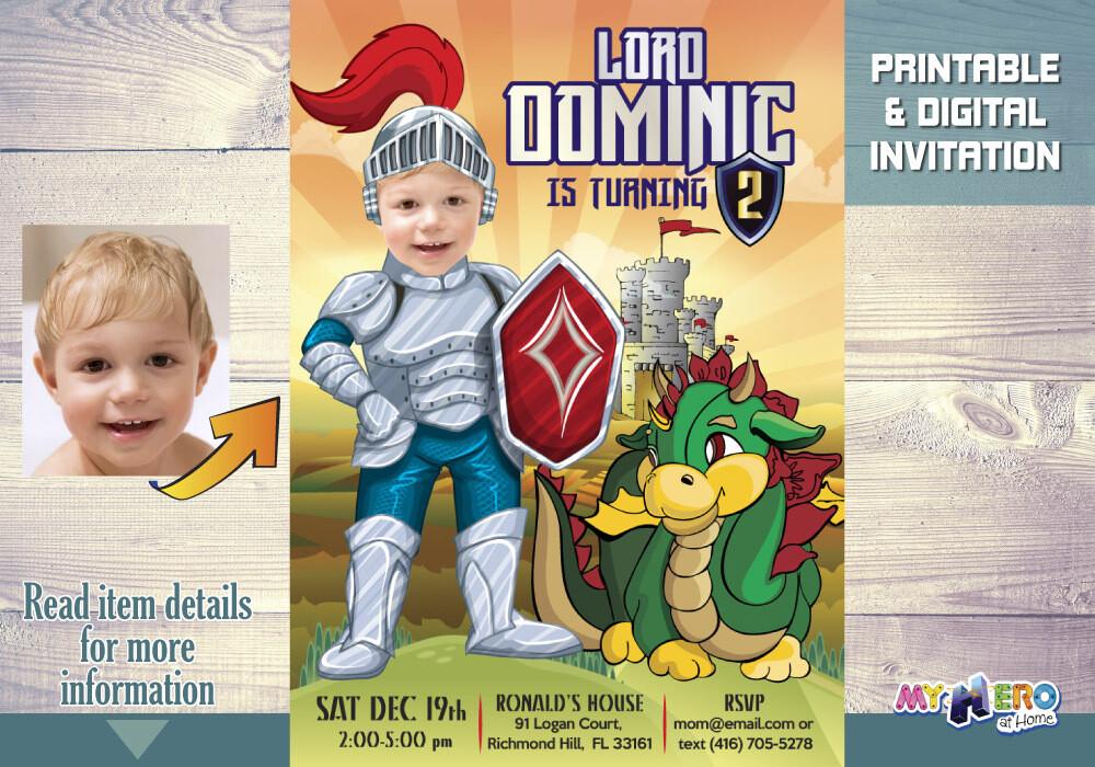 Baby Knight Birthday Invitation, Dragons Birthday Invitation, Knights and Dragons Birthday, Medieval Knight Virtual Birthday, 217