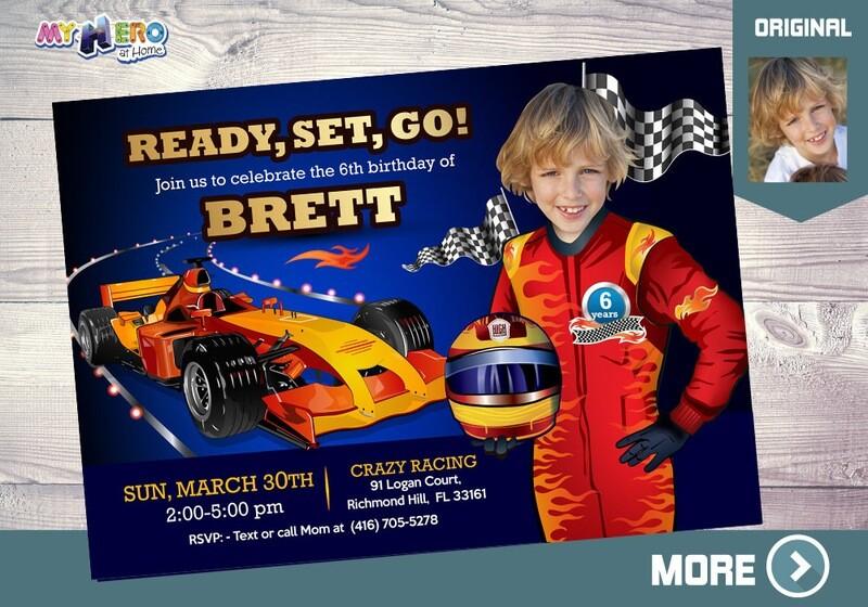 Race Car Birthday Invitation, Race Car theme Party, Race Car Digital Invitation, Race Car Virtual Birthday, Race Car Party decor, 317