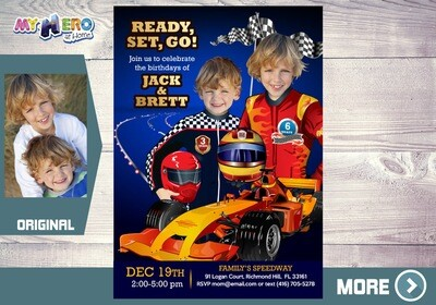 Joint Race Car Party Ideas. Siblings Race Car Invitation. Race Car Birthday for 2. Sports Car Birthday Ideas. Joint Race Car Invitation. 316