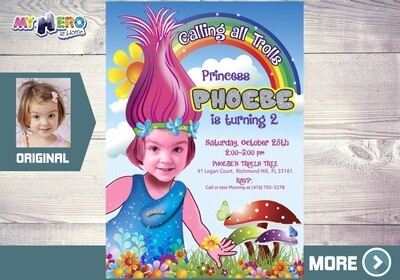 Trolls Invitation. Turn your girl into Princess Poppy. Princess Poppy Invitation. Trolls Birthday. Trolls Party. Princess Poppy Party. 200